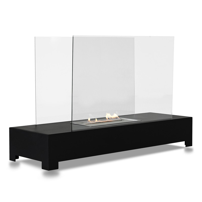 bio standkamin schwarz mit glas. Black Bedroom Furniture Sets. Home Design Ideas
